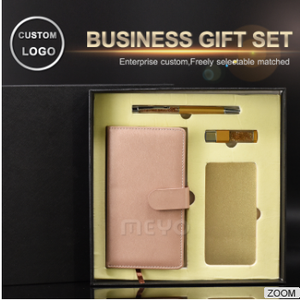 MEYO QY318-4 Noble custom business portable gift set+USB Memory Stick+PU Leather Notebook+10000mAh Power Bank+Sign pen