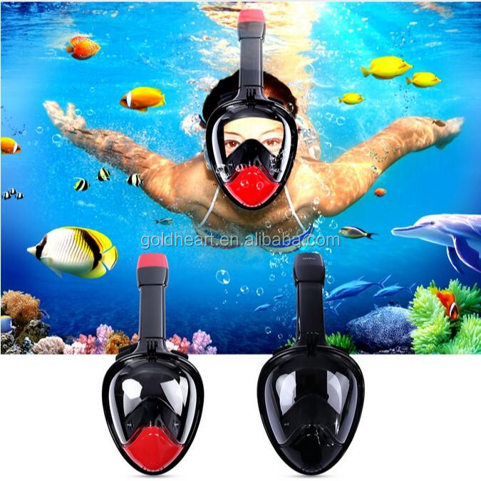 Amazon Top Seller 2017 Máscara de Mergulho Scuba Ninja, Panorâmica New Breath Free Face Máscara de Snorkel Anti Nevoeiro Para Go Pro
