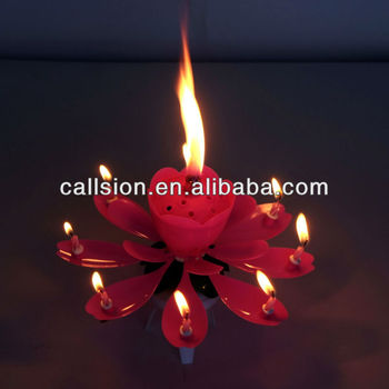 Fancy Sparkling Flower Singing Birthday Music Candle