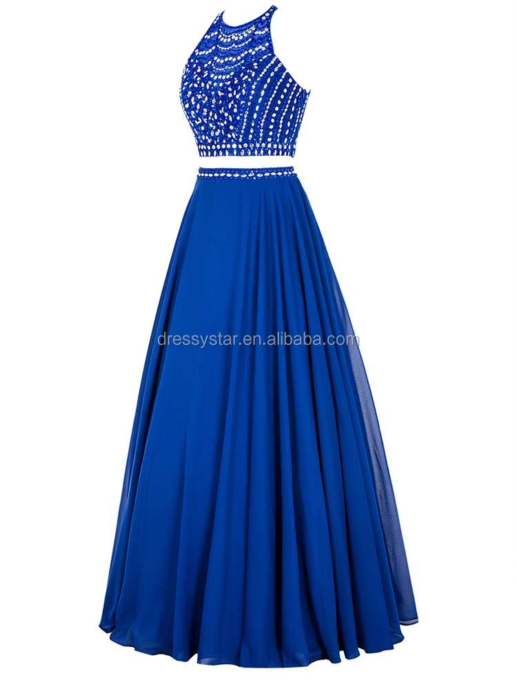 Suzhou China wholesale cheap royal blue sequined two piece sexy prom dress with beads