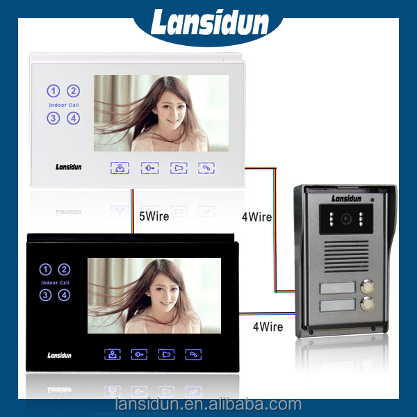 2 family intercom system automatic dc video door remote