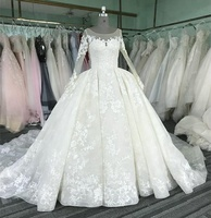 Long sleeve ball gown wedding dress 2017 luxury WT331 Vestido de novia