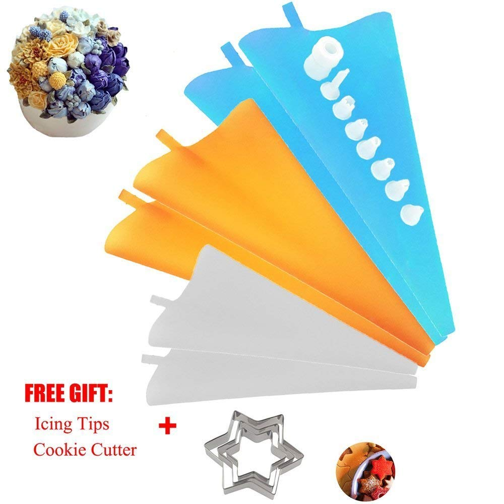 Pastry Piping Bag Cake Decorations Pies Donut with Tips Cookie Cutter Coupler 3 Sizes Reusable Silicone Icing Bags for Baker and Baking Lover Kitchen Gadgets Decorating Amazing Combination