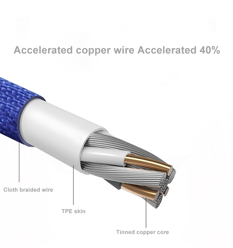 Micro USB Cable Aluminum Nylon Braided Fast Quick Charging Cable Data Sync Transfer Cord Cloth Weaving Silky Wire