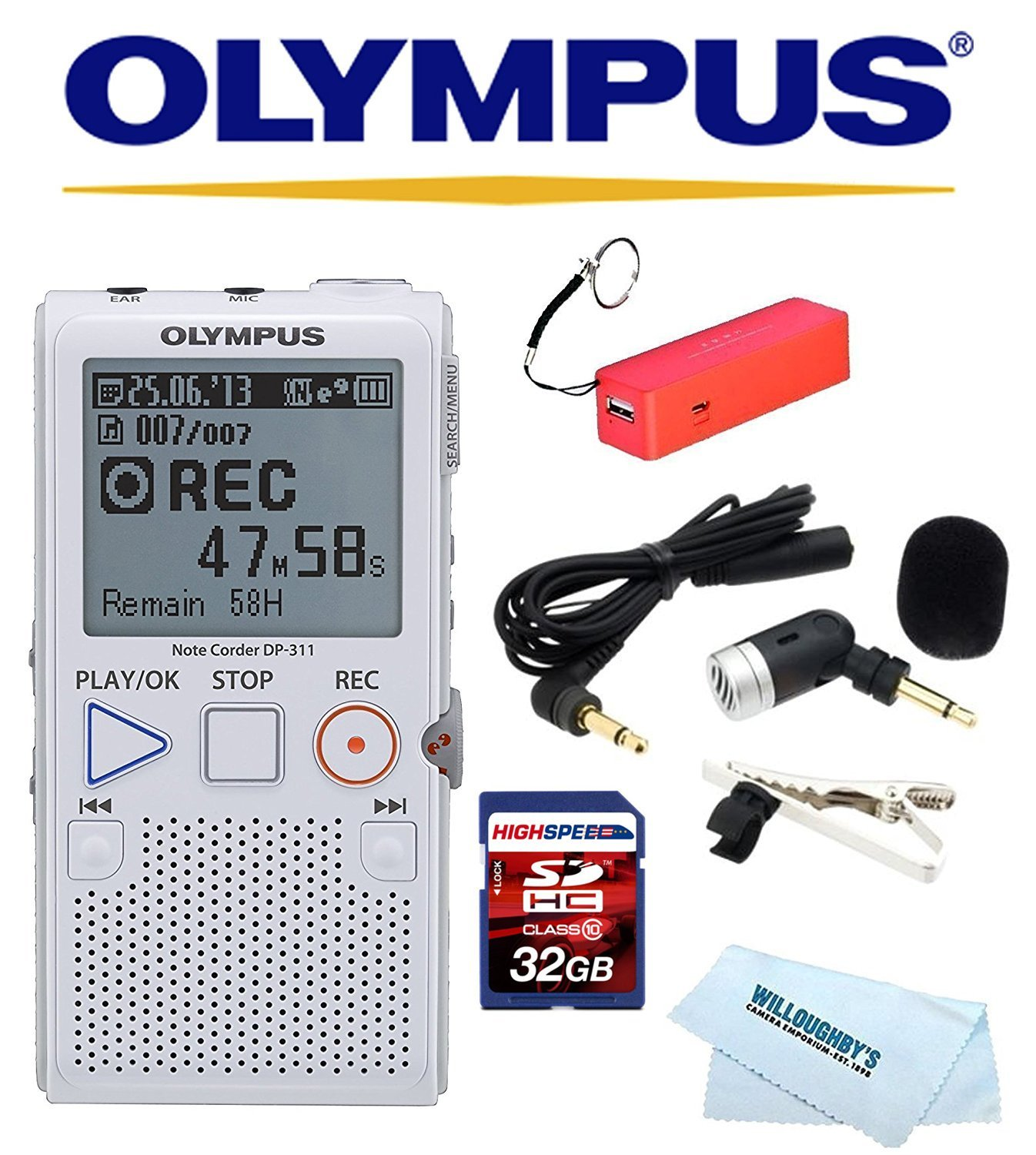 Olympus ME-52W Tie-Clip Mini Noise Cancelling ME52W Dictaphone Microphone New