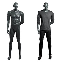 Customized full body standing strong fiberglass black sport muscular fitting male mannequin