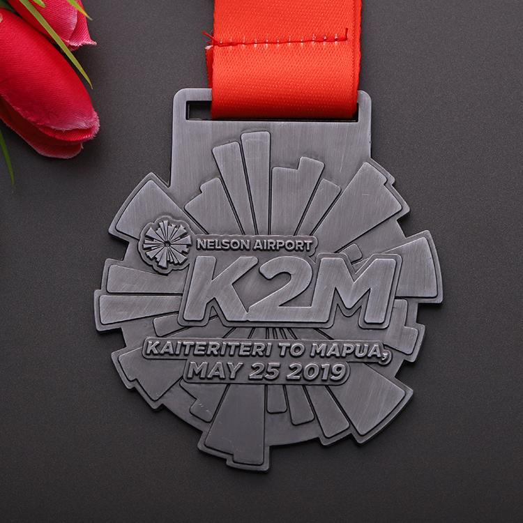 Design your own antique silver metal running marathon sports medal with ribbon