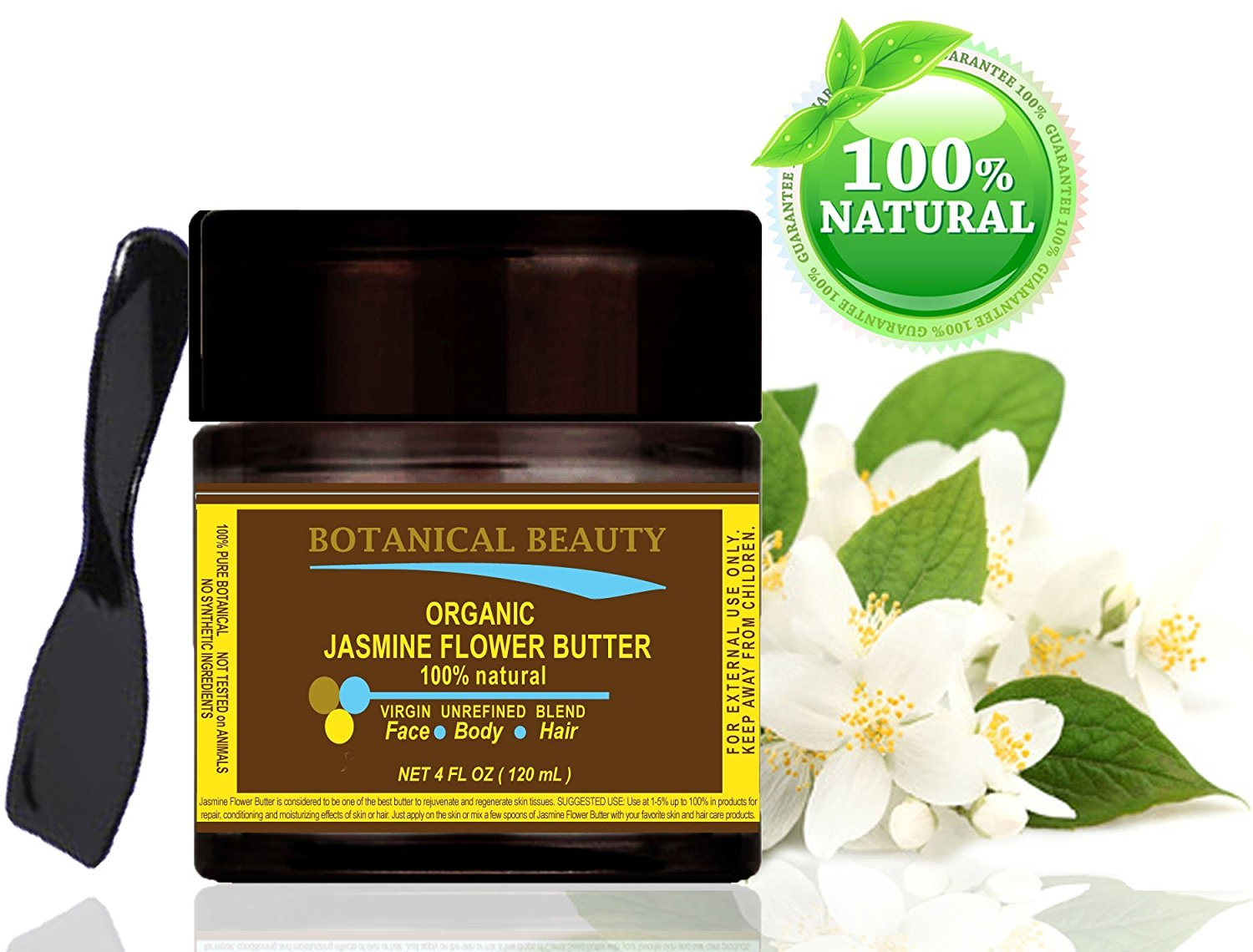 Buy jasmine flower butter organic 100 natural 100 pure jasmine flower butter organic 100 natural 100 pure botanicals virgin unrefined blend cold pressed 4 oz 120 ml for skin hair and nail care izmirmasajfo