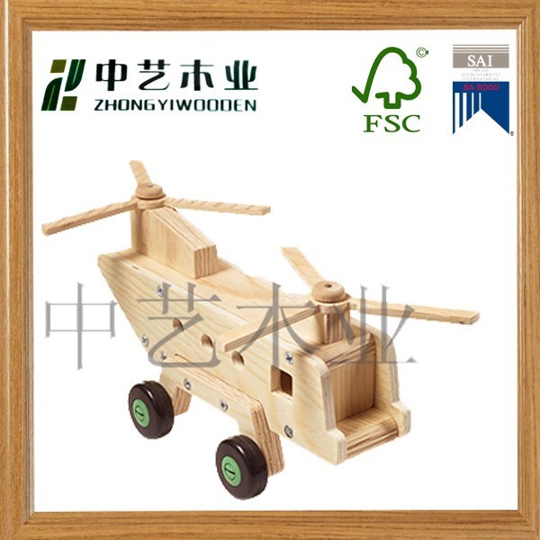 wooden airplane DIY environmental educational 3D wooden puzzle toy