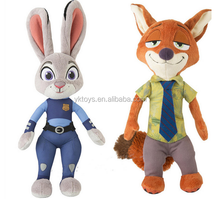 Famous character toys zootopia toys cartoon character plush toys