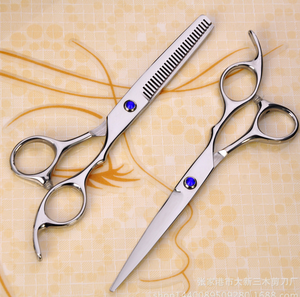 Most selling products faddish design beauty care hair scissors expensive barber double teeth shears