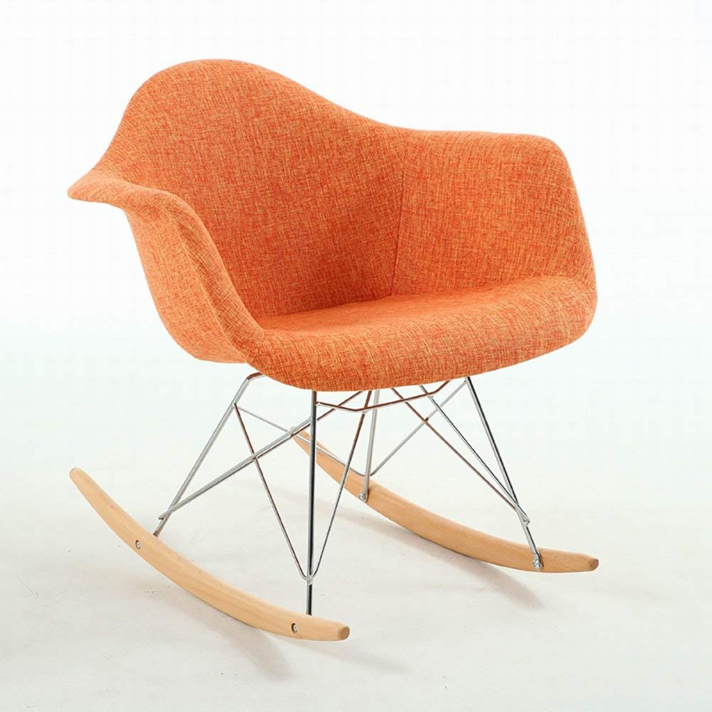 Get Quotations Zjm Chaise Lounges Nordic Fabric Rocking Chair Leisure Living Room Balcony Wood Deck