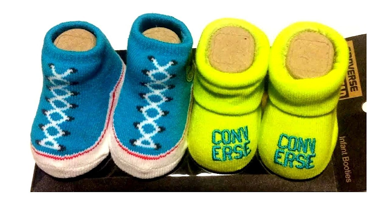b6861fb91af7 Get Quotations · Converse 2 Pair Infant Blue Neon Booties Socks Size 0-6M  Gift Box
