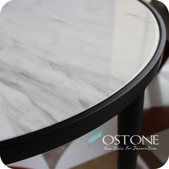 Charmant Home Furniture Volakas White Marble Top Round Stone Table Tops With Black  Titanium Plating Base