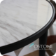 Home Furniture Volakas White Marble Top Round Stone Table Tops With Black Titanium Plating Base