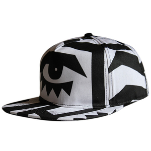 Advertising 5 panel acrylic white black print flat brim eyes snapback caps