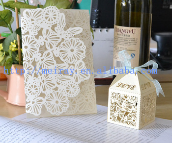 China Wholesale Wedding Favor Lace Flower Laser Cut Wedding Invitation Cards And Flower Cupcake Boxes