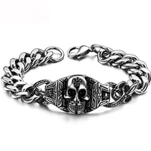 Supply Wholesale Stainless Steel Pharaoh Wang Skull Jewelry Men's Bracelet