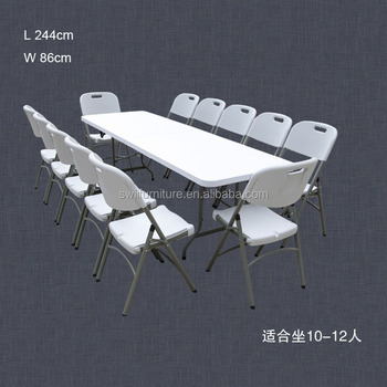 8 Ft Plastic 12 Person Folding Table For Banquet And Picnic To