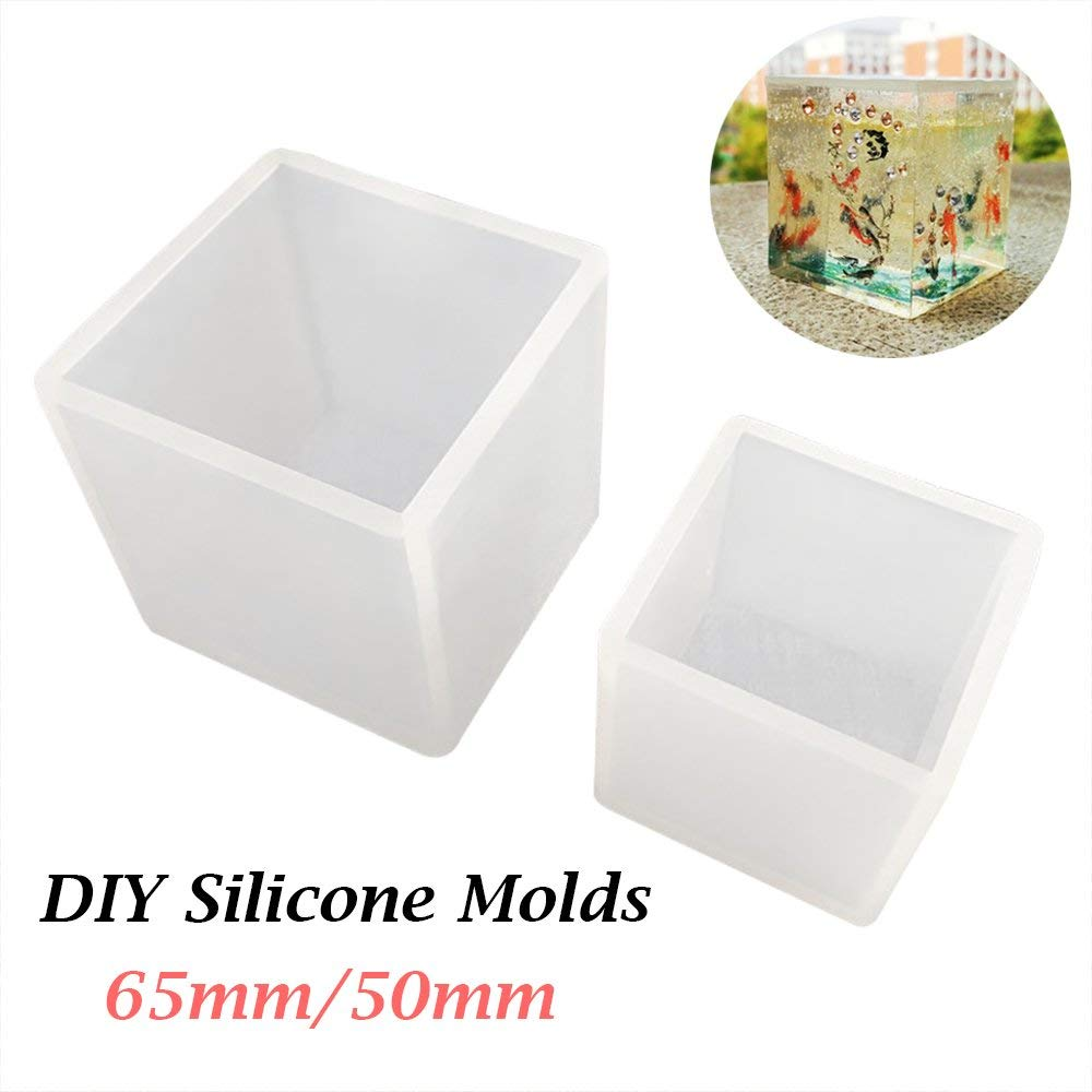 Frenshion 50mm Crystal Epoxy Silicone Mould Craft Mold DIY Cube Shape Resin Jewelry Necklace Earrings Pendant Mold