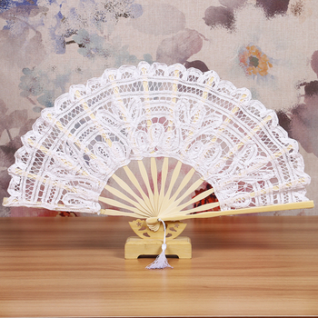 hotsale ladies wedding hand fan white lace wedding fans bamboo lace