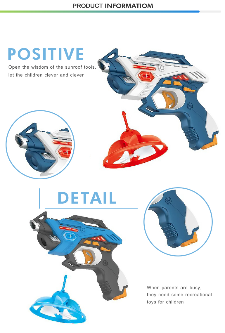 Top quality fly saucer shooting battery operated plastic electric toy gun set