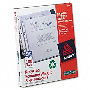Avery : Top-Load Recycled Polypropylene Sheet Protectors, Letter, 100/box -:- Sold as 2 Packs of - 100 - / - Total of 200 Each