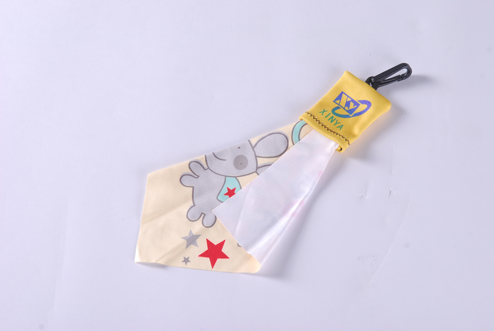 Popular microfiber glasses cleaning cloth with key chain