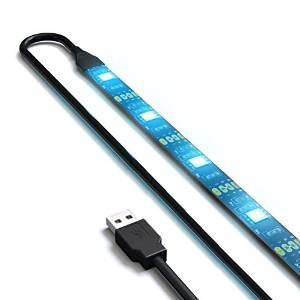 Autai Flexible USB Accent LED Light Strip for TV Back Light TV Mood Light IP65 Waterproof Adhesive Tape White Blue Color Kit (Black(PC)) (50cm USB cable + 50cm LED strip (blue color))