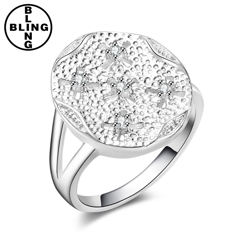 >>>2017 Wholesale New Promotion Trendy Silver Plated AAA Zircon Women Jewelry hollow out Gift Rings/