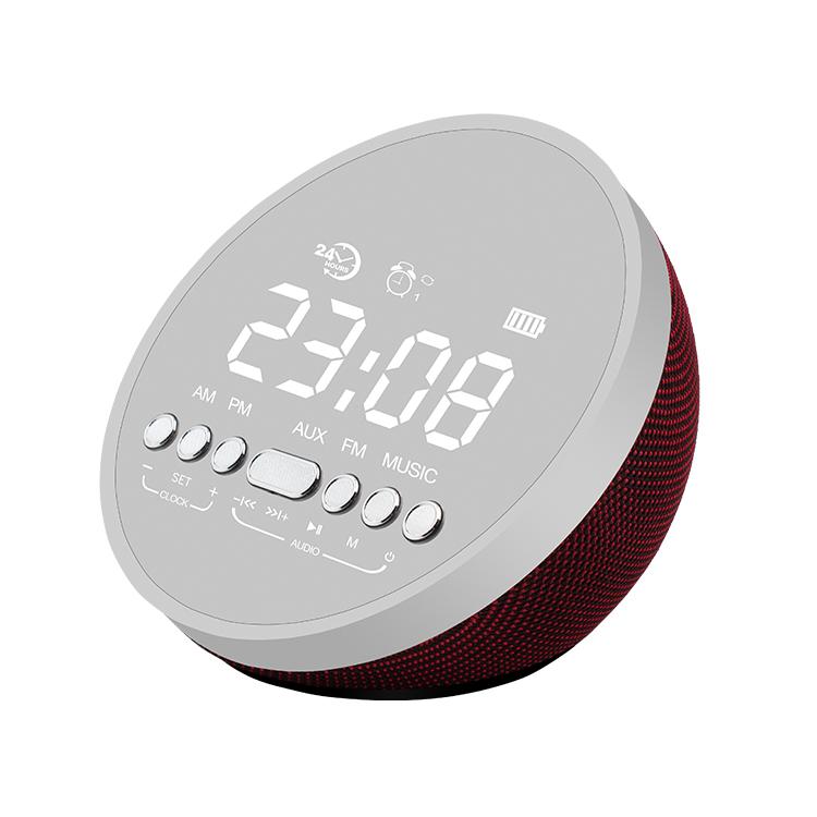 Patent 5W sub woofer Portable Radio Alarm clock wireless speaker bluetooth round waterproof mini speaker with LED mirror фото