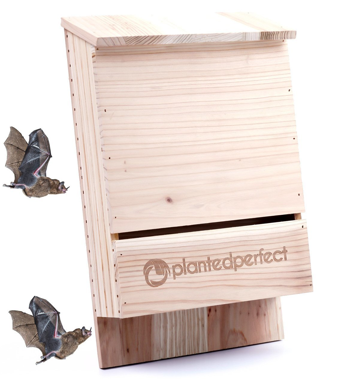 BAT HOUSE PEST CONTROL - Bats Shelter Protects Home From Mosquitoes and Bugs - Dual Chamber Wooden Bat Boxes Built to Last - Houses Up to 360 Bats - Repels Pests From Garden (Large, brown)
