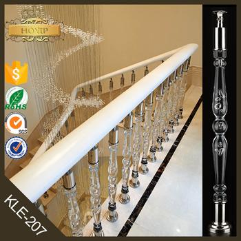 Home Interior Indoor Crystal Stair Railings Clear Handrail
