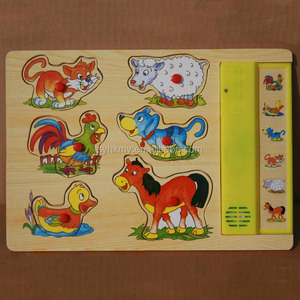 Jigsaw toy factory kids toys wooden animal sound puzzles music wooden puzzles