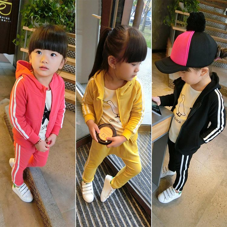 2016 children s spring clothing 2 PCS Sport Sets male female child baby zipper with a