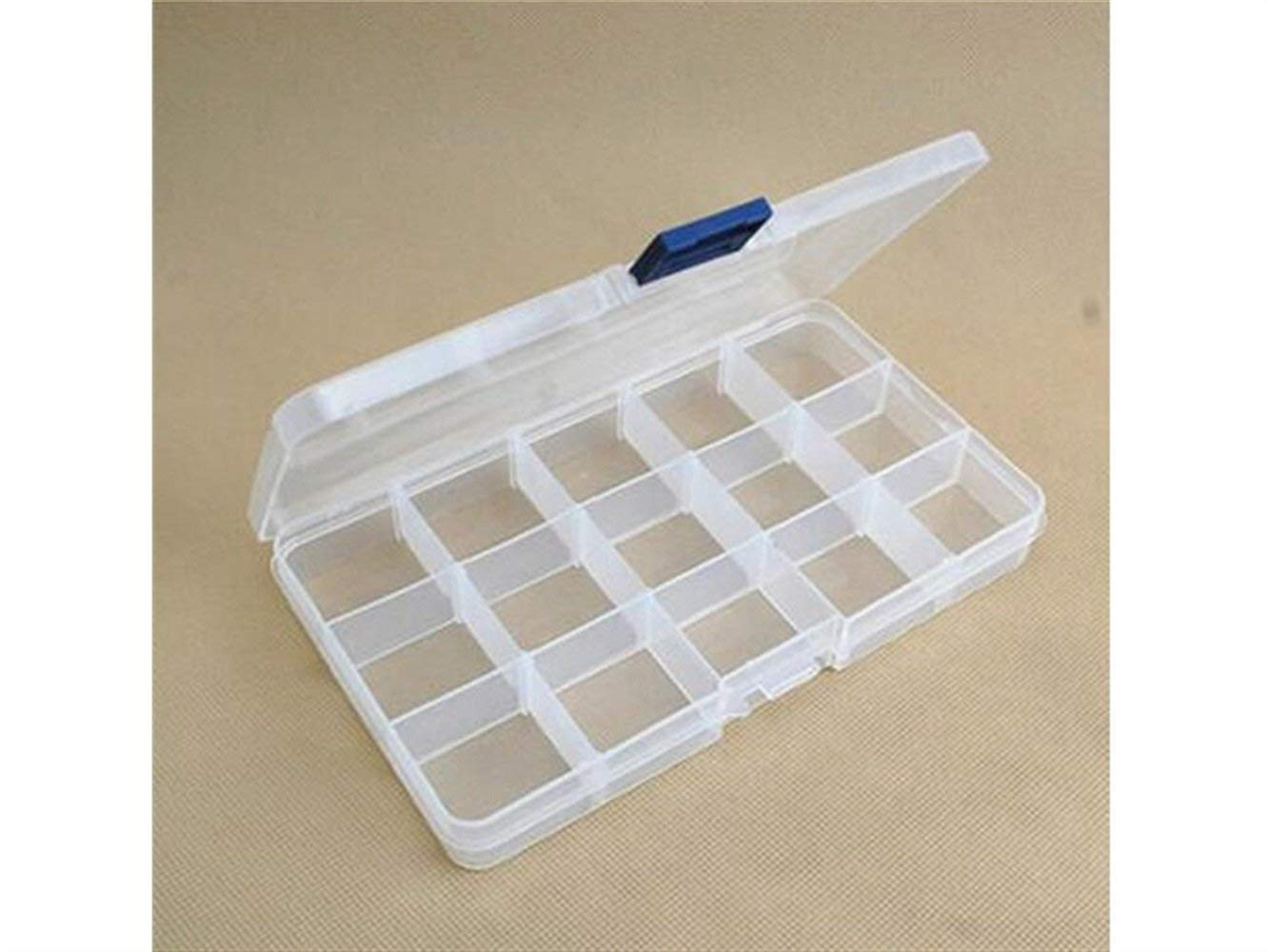 Yuchoi Perfectly Shaped 15 Grid Boxes Plastic Clear Adjustable Storage Box Jewelry Case