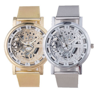 Luxury mens skeleton wrist watches men stainless steel skeleton watch