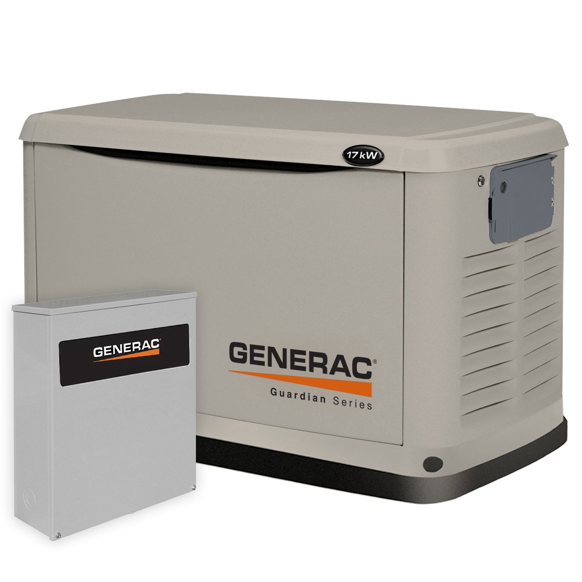 Generac 6243 17,000 Watt Air-Cooled Aluminum Enclosure Liquid Propane/Natural Gas Powered Standby Generator with Transfer Switch, 200SE (not CUL) (Discontinued by Manufacturer)