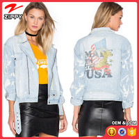 New Style Ladies Casual West Cowboy Printed Jean jackets