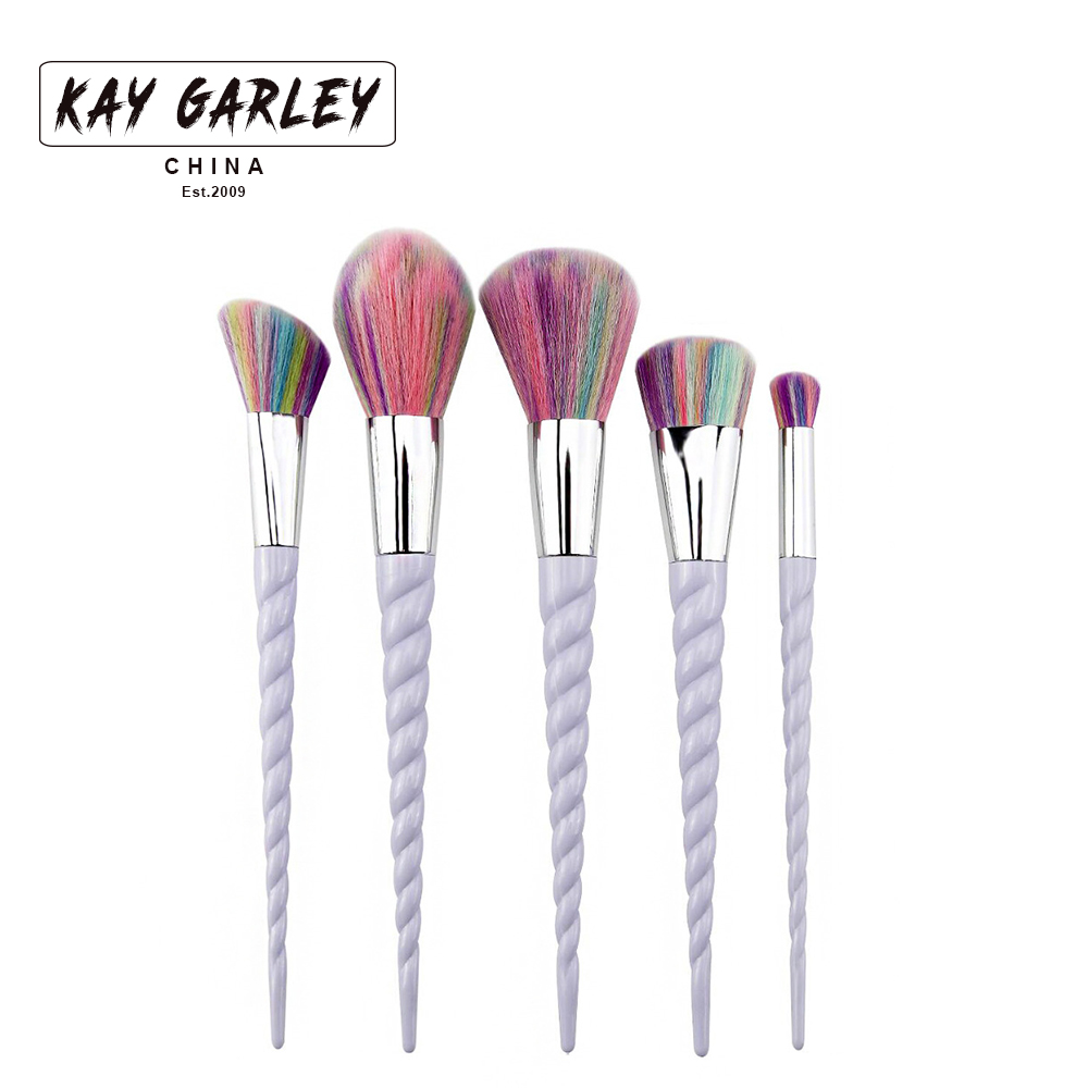 2017 unicorn makeup brush set 5pcs professional colorful synthetic hair helical shape handle powder eyeshadow makeup brush kits