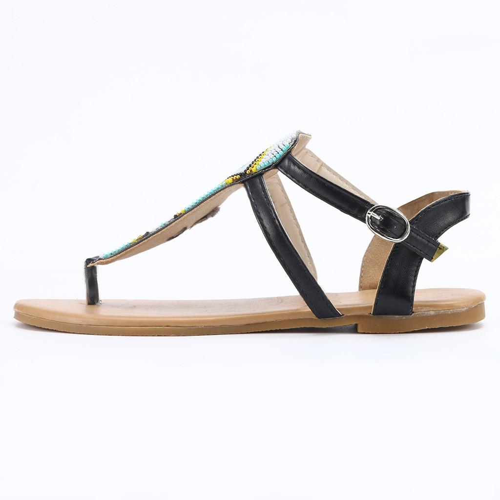 Compre Primavera Verano Mujer Moda Mujer Verano 2019 Nueva Tendencia De Moda De Mate Personalizado String Bead Casual Flats Roma Zapatos Sandalias #