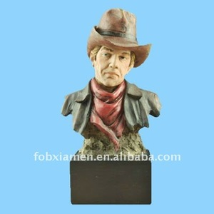 resin western cowboy bust figure statue