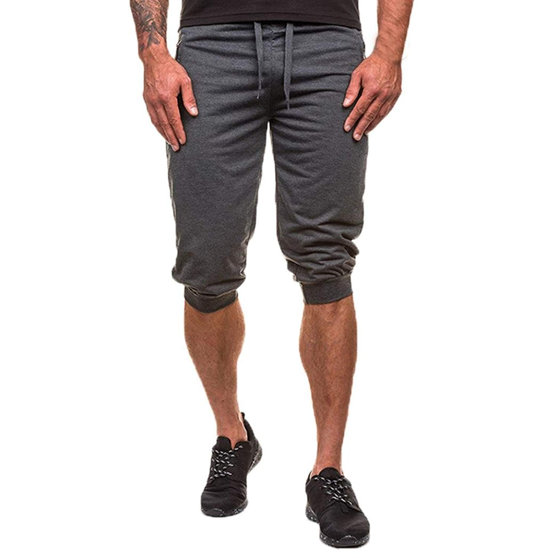 Men's Cropped Camo Pants,Morecome Men Fitness Jogging Elastic Stretchy Pants Bodybuilding Sport (2XL, Green)