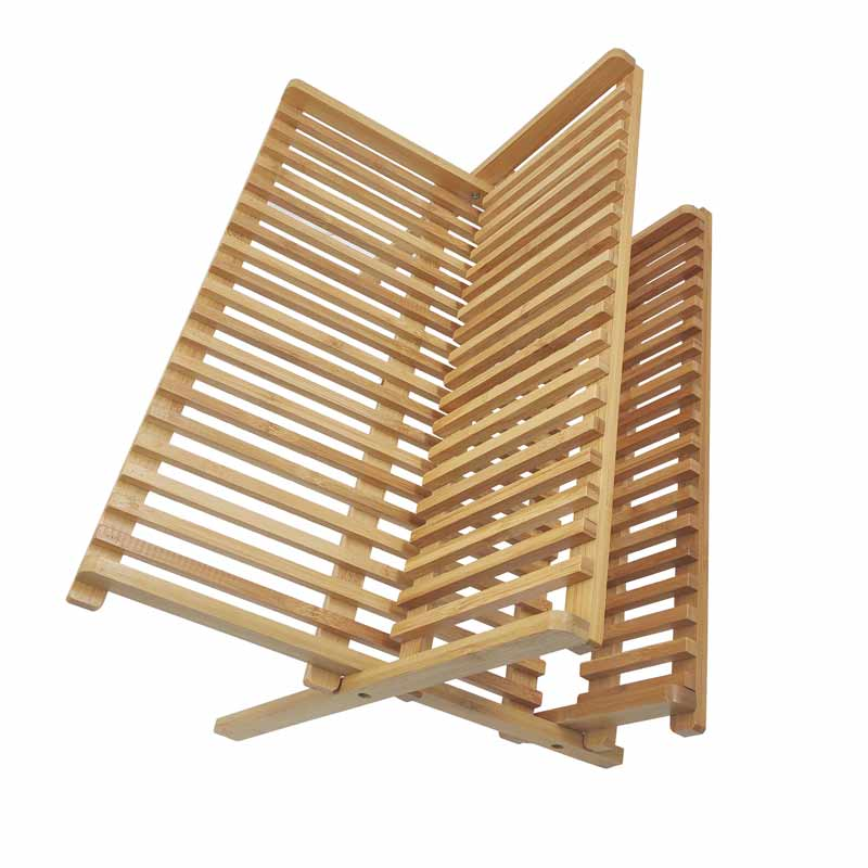 Kitchen Bamboo X Shaped Folding Dish Rack With Utensil Holder 11