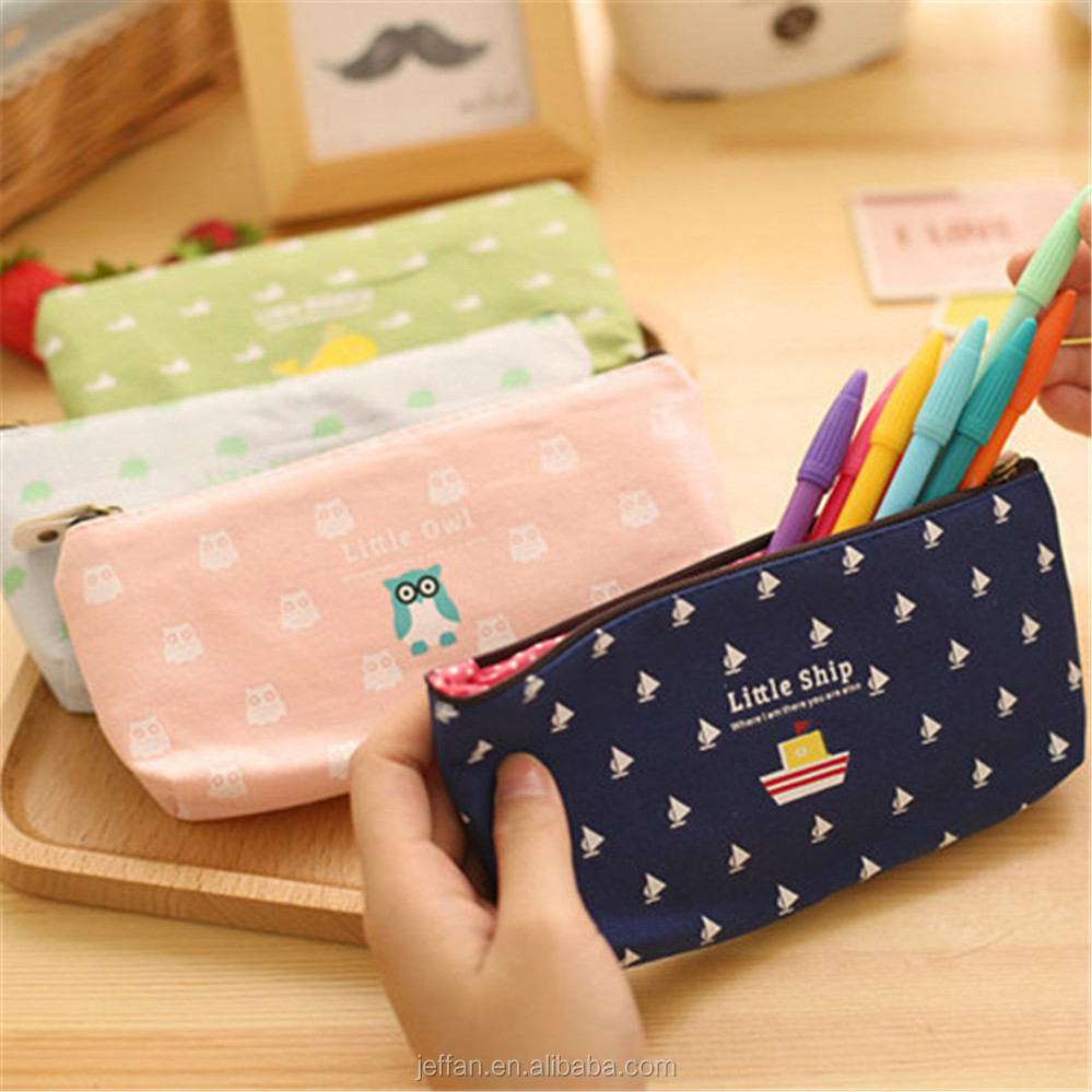 New Arrival School Supplies Stationery little ship pattern canvas zipper pencil bags