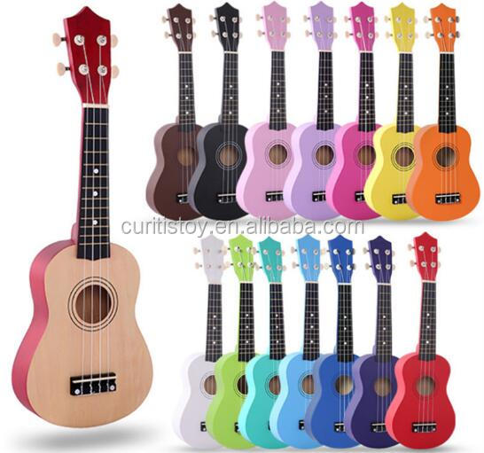 21 inches ukulele kids educational toy wood body material round back handmade acoustic guitar, Sample color