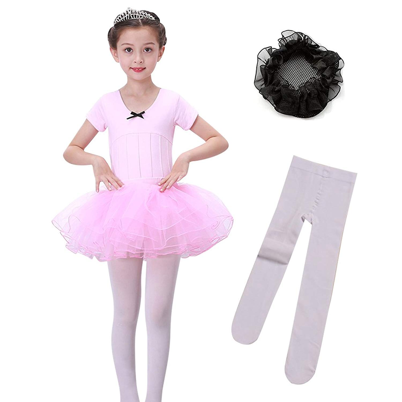 f880bae391f57 Get Quotations · LEINASEN Girls' Ballet Leotard, Toddler Short Sleeves  Dance Leotard with Tutu Skirt, Footed