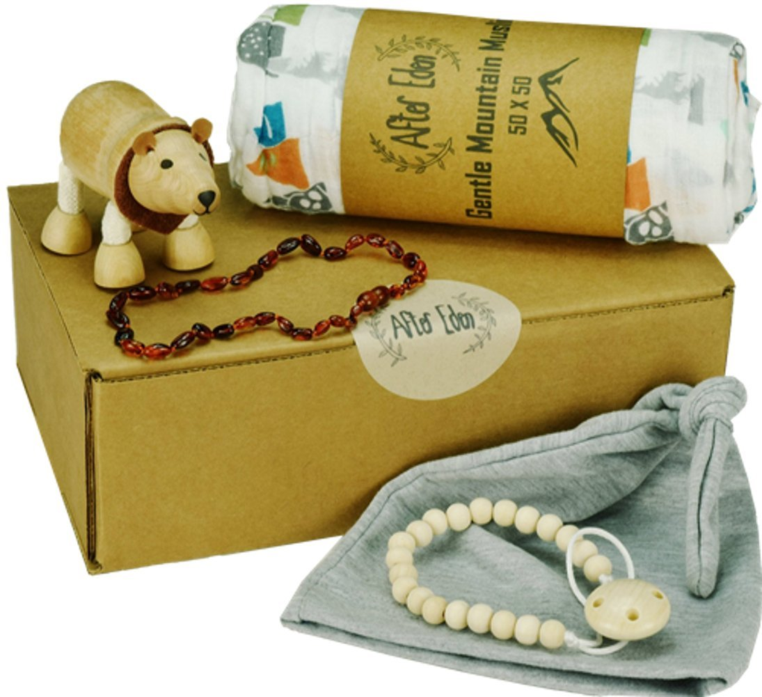 5 Piece baby boy shower gift set | READY TO GIVE!! - GIFTS FOR NEWBORN BOYS | includes: amber necklace, pacifier clip, muslin swaddler, wooden toy, knitted cap – cute gift basket!