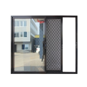 Australia commercial system aluminum frame sliding door with stainless steel security grill cheap sliding door