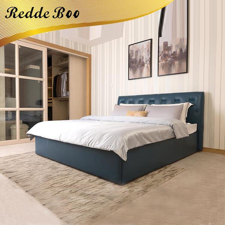 Cuero de lujo cama king size, negro moderno cama de cuero de fábrica ...